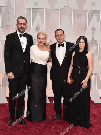 From left, Eric White, Patricia Arquette, Richmond Arquette, and Harlow Jane-Arquette arrive at the Oscars, at the Dolby Theatre in Los Angeles