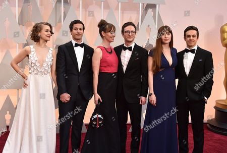 Joanna Newsom, from left, Andy Samberg, Liz Cackowski, Akiva Schaffer, Marielle Heller, and Jorma Taccone arrive at the Oscars, at the Dolby Theatre in Los Angeles