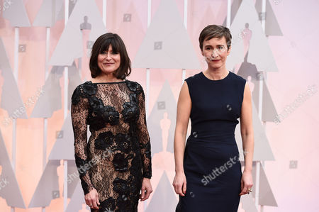 Maria Djurkovic, left, and Tatiana Macdonald arrive at the Oscars, at the Dolby Theatre in Los Angeles