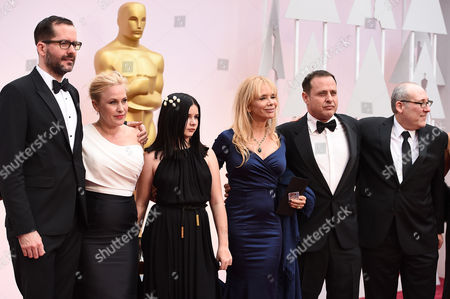 Stock Photo of From left, Eric White, Patricia Arquette, Harlow Jane-Arquette, Rosanna Arquette, Richmond Arquette, and guest arrive at the Oscars, at the Dolby Theatre in Los Angeles
