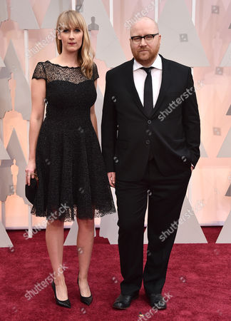 Johann Johannsson, right, arrives at the Oscars, at the Dolby Theatre in Los Angeles