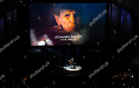 Leonard Nimoy is featured on screen during the in memoriam tribute at the Oscars, at the Dolby Theatre in Los Angeles