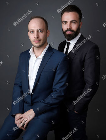 """Writer-director Jamie Donoughue, left, and producer Eshref Durmishi, from the short film, """"Shok,"""" pose for a portrait at the 88th Academy Awards Nominees Luncheon at The Beverly Hilton hotel, in Beverly Hills, Calif"""