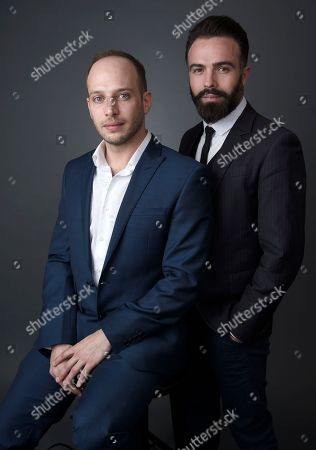 Jamie Donoughue, left, and Eshref Durmishi pose for a portrait at the 88th Academy Awards Nominees Luncheon at The Beverly Hilton hotel, in Beverly Hills, Calif
