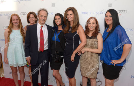 Karen Skelton, second from left, and her daughter, Anne Marie, and from third left Nick Doob, Lindsey Miller, Maria Shriver, Shari Cookson, and Katrina Gilbert arrive at the 8th annual Television Academy Honors at the Montage hotel, in Beverly Hills, Calif