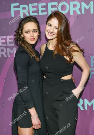 """Actors Daisy Head, left, and Emily Tremaine from """"Guilt"""", attend the ABC Freeform 2016 Upfront at Spring Studios, in New York"""