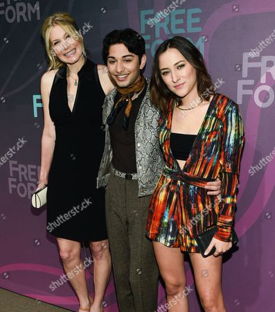 Actors Elizabeth Mitchell, left, Mark Indelicato and Zelda Williams attend the ABC Freeform 2016 Upfront at Spring Studios, in New York