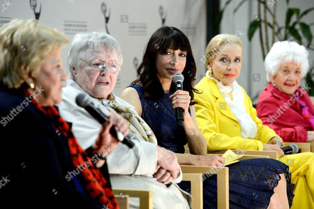 """JANUARY 31: (L-R) Actors Kaye Ballard, Pat Carroll, Illeana Douglas, Anne Jeffreys and Charlotte Rae participate in the Academy of Television Arts & Sciences Presents """"Retire From Showbiz? No Thanks!"""" panel at the Academy of Television Arts & Sciences on in North Hollywood, California"""