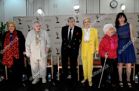 """JANUARY 31: (L-R) Actors Kaye Ballard, Pat Carroll, Jerry Lewis, Anne Jeffreys, Charlotte Rae and Illeana Douglas participate in the Academy of Television Arts & Sciences Presents """"Retire From Showbiz? No Thanks!"""" panel at the Academy of Television Arts & Sciences on in North Hollywood, California"""