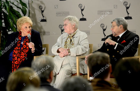 """JANUARY 31: (L-R) Actors Kaye Ballard, Pat Carroll and Jerry Lewis participate in the Academy of Television Arts & Sciences Presents """"Retire From Showbiz? No Thanks!"""" panel at the Academy of Television Arts & Sciences on in North Hollywood, California"""