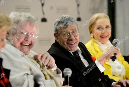 """JANUARY 31: (L-R) Actors Kaye Ballard, Pat Carroll, Jerry Lewis and Anne Jeffreys participate in the Academy of Television Arts & Sciences Presents """"Retire From Showbiz? No Thanks!"""" panel at the Academy of Television Arts & Sciences on in North Hollywood, California"""