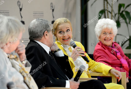 """JANUARY 31: (L-R) Actors Pat Carroll, Jerry Lewis, Anne Jeffreys and Charlotte Rae participate in the Academy of Television Arts & Sciences Presents """"Retire From Showbiz? No Thanks!"""" panel at the Academy of Television Arts & Sciences on in North Hollywood, California"""