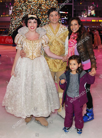 Actress Constance Marie, right, and her daughter, Luna Marie Katich, second from right, attend AEG's Season of Giving celebrates Disney on Ice: Dare to Dream and Baby Buggy's Holiday Diaper Drive at L.A. LIVE, in Los Angeles