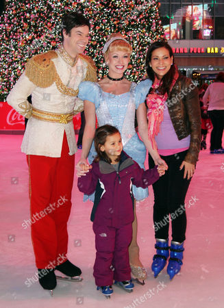 Actress Constance Marie, right, and her daughter, Luna Marie Katich, second from left, attend AEG's Season of Giving celebrates Disney on Ice: Dare to Dream and Baby Buggy's Holiday Diaper Drive at L.A. LIVE, in Los Angeles