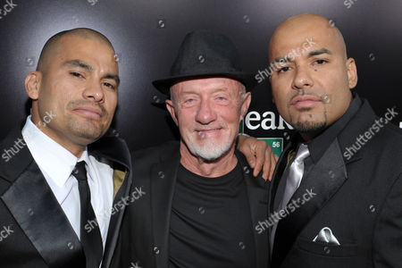 From left, actors, Daniel Moncada, Jonathan Banks and Lewis Moncada attend AMC's and Sony Pictures Television's celebration for the final episodes of 'Breaking Bad' on the Sony Lot on in Los Angeles