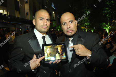 Actors Daniel Moncada, left, and Lewis Moncada attend AMC's and Sony Pictures Television's celebration for the final episodes of 'Breaking Bad' on the Sony Lot on in Los Angeles