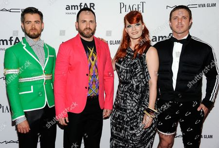 American band the Scissor Sisters, from left, Del Marquis, Babydaddy, Ana Matronic and Jake Shears arrive at the amfAR Inspiration gala at the New York Public Library on in New York