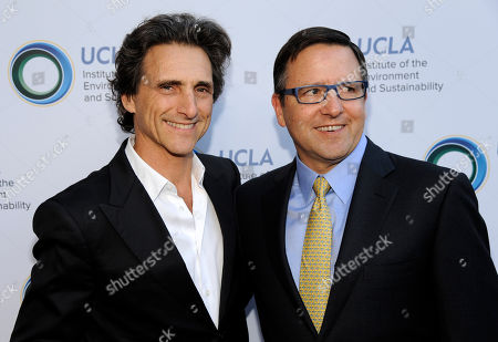 Honoree Lawrence Bender, left, and Tony Pritzker pose together at the UCLA Institute of the Environment and Sustainability's An Evening of Environmental Excellence on in Beverly Hills, Calif