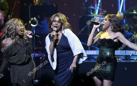 Singers Alexander Burke, Jennifer Holliday and Deborah Cox are seen performing at the 2013 Apollo Spring Gala, on in New York