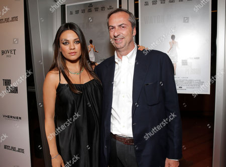 Mila Kunis and Vhernier Owner/President Carlo Traglio attend the Artists for Peace & Justice Special Screening of Sony Pictures Classics and Paul Haggis' Third Person, in Los Angeles