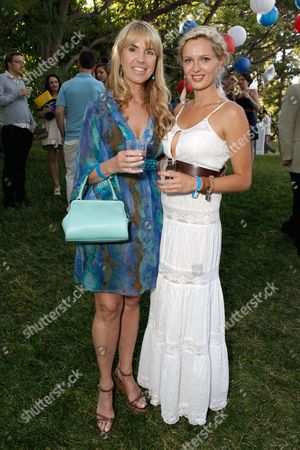 Julia Verdin, left and guest attend the BAFTA Los Angeles 25th Anniversary Jubilee Garden Party on at Casey Kasem's estate in Los Angeles