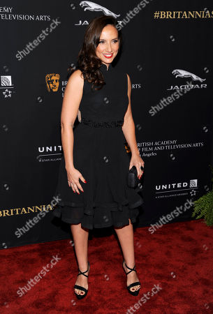 Leila Birch arrives at the BAFTA Los Angeles Britannia Awards at the Beverly Hilton Hotel, in Beverly Hills, Calif