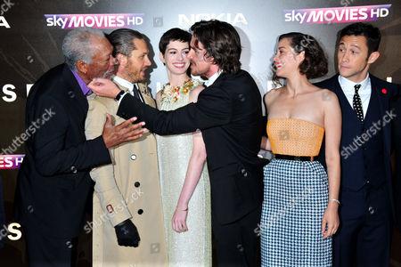 Morgan Freeman, Tom Hardy, Anne Hathaway, Christian Bale, Marion Cotillard, Joseph Gordon-Levitt arrives at the Batman - The Dark Knight Rises European Premiere at Odeon Leicester Square on in London