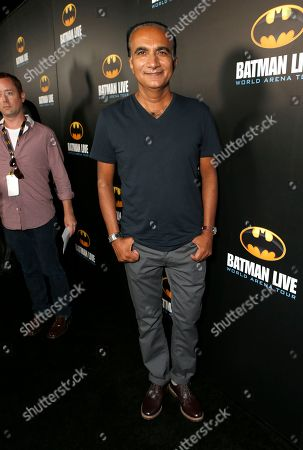 Iqbal Theba arrives at the L.A. Batman Live Premiere, at STAPLES Center in Los Angeles