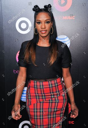 JoiStarr arrives at Beats Music Launch Party at the Belasco Theatre, in Los Angeles, Calif