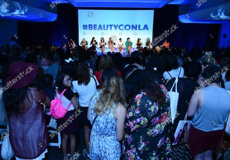 From left, Brittany Mota-Wiley, Evelina, Teni Panosian, Mindy, Alexa Losey, Shameless Maya, Kandee Johnson, Jenn Im, MakeupByMandy24 and Emily Greener attend BeautyCon Los Angeles 2014 in Partnership with Elle at LA Mart, in Los Angeles