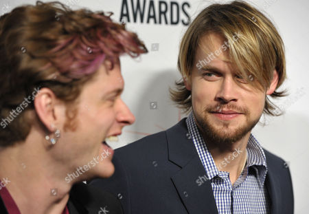 """Nash Overstreet, of Hot Chelle Rae, left, and Chord Overstreet attend the """"BMI 61st Annual Pop Awards"""" at The Beverly Wilshire Hotel on in Beverly Hills, Calif"""