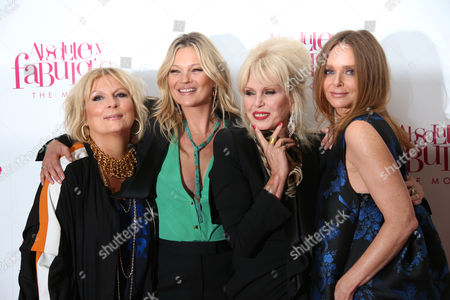 Actress Jennifer Saunders, from left, model Kate Moss, actress Joanna Lumley and fashion designer Stella McCartney pose for photographers upon arrival at the World premiere of the film 'Absolutely Fabulous' in London