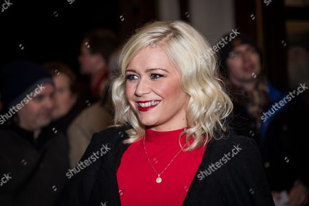Stock Photo of Susanne Shaw poses for photographers upon arrival at the world premiere of the play 'The End Of Longing' in London