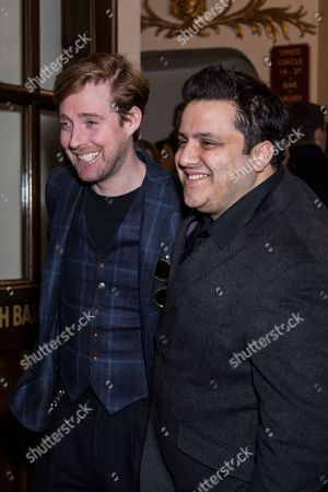 Ricky Wilson and Nathan Amzi pose for photographers upon arrival at the world premiere of the play 'The End Of Longing' in London