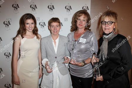 Stock Photo of From left, presenter Anna Kendrick, Libby Goldstein, Television Pilot, Lisa Mae Fincannon, Television Pilot and Junie Lowry Johnson, Television Pilot winners pose backstage during the 2012 Casting Society of America Artios Awards held at the Beverly Hilton Hotel on in Beverly Hills, Calif