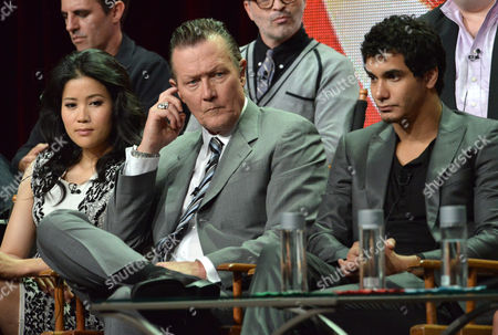 "From left, Jadyn Wong, Robert Patrick and Elyes Gabel appear on stage during the ""Scorpion"" panel at the CBS 2014 Summer TCA held at the Beverly Hilton Hotel, in Beverly Hills, Calif"