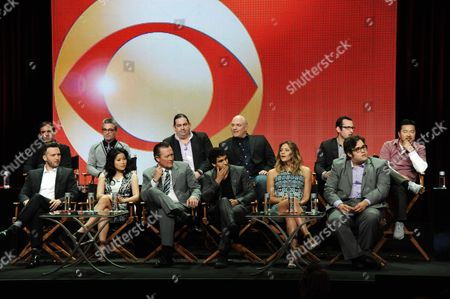 "From left, front, Eddie Kaye Thomas, Jadyn Wong, Robert Patrick, Elyes Gabel, Katharine McPhee, and Ari Stidham; rear, Roberto Orci, Alex Kurtzman, Walter O'Brien, Nick Santora, Nicolas Wootton, and Justin Lin, appear on stage during the ""Scorpion"" panel at the CBS 2014 Summer TCA held at the Beverly Hilton Hotel, in Beverly Hills, Calif"