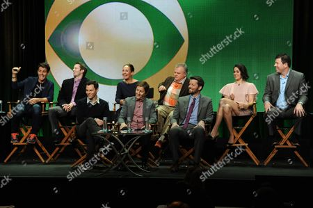 """From left, front row, Will Gluck, Mike Sikowitz, and Brian Gallivan; from left, rear, Joey McIntyre, Tyler Ritter, Laurie Metcalf, Jack McGee, Kelen Coleman, and Jimmy Dunn on stage during the """"The McCarthys"""" panel at the CBS 2014 Summer TCA held at the Beverly Hilton Hotel, in Beverly Hills, Calif"""
