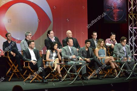 "From left, Roberto Orci, Eddie Kaye Thomas, Jadyn Wong, Alex Kurtzman, Robert Patrick, Elyes Gabel, Walter O'Brien, Katharine McPhee, Nick Santora, Nicolas Wootton, Ari Stidman and Justin Lin on stage during the ""Scorpion"" panel at the CBS 2014 Summer TCA held at the Beverly Hilton Hotel, in Beverly Hills, Calif"
