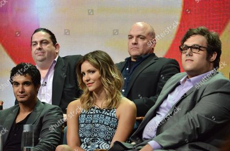 "From left, Elyes Gabel, Walter O'Brien, Katharine McPhee, Nick Santora, and Ari Stidham appear on stage during the ""Scorpion"" panel at the CBS 2014 Summer TCA held at the Beverly Hilton Hotel, in Beverly Hills, Calif"