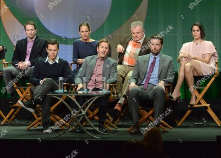 """From left, Tyler Ritter, Laurie Metcalf, Will Gluck, Kelen Coleman, Mike Sikowitz, Jack McGee, Kelen Coleman, and Brian Gallivan on stage during the """"The McCarthys"""" panel at the CBS 2014 Summer TCA held at the Beverly Hilton Hotel, in Beverly Hills, Calif"""
