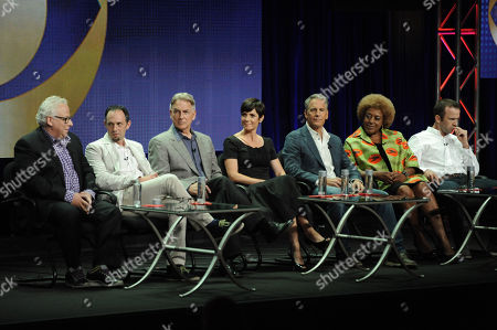 "Stock Photo of Executive producer/creator Gary Glasberg, Executive producer Jeffrey Lieber, Executive Producer Mark Harmon, Zoe McLellan, Scott Bakula, CCH Pounder and Lucas Black speak on stage during the ""NCIS: New Orleans"" panel at the CBS 2014 Summer TCA held at the Beverly Hilton Hotel, in Beverly Hills, Calif"