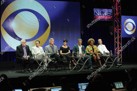 "Executive producer/creator Gary Glasberg, Executive producer Jeffrey Lieber, Executive Producer Mark Harmon, Zoe McLellan, Scott Bakula, CCH Pounder and Lucas Black speak on stage during the ""NCIS: New Orleans"" panel at the CBS 2014 Summer TCA held at the Beverly Hilton Hotel, in Beverly Hills, Calif"