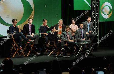 """From left, Joey McIntyre, Tyler Ritter, Laurie Metcalf, Will Gluck, Kelen Coleman, Mike Sikowitz, Jack McGee, Kelen Coleman, Jimmy Dunn and Brian Gallivan on stage during the """"The McCarthys"""" panel at the CBS 2014 Summer TCA held at the Beverly Hilton Hotel, in Beverly Hills, Calif"""
