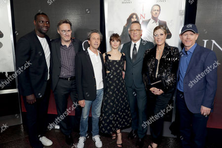 """Omar Sy, Jon Donahue, Producer Brian Grazer, Felicity Jones, Tom Hanks, Rita Wilson and Director/Producer Ron Howard seen at Columbia Pictures Presents in Association with Imagine Entertainment the Los Angeles Special Red Carpet Screening of """"Inferno"""" at The DGA, in Los Angeles"""