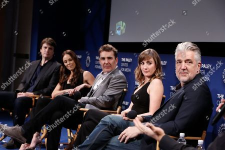Nathan Fillion, Laura Vandervoort, Nolan North, Alison Haislip and P.J. Haarsma seen at the Lionsgate, Comic-Con HQ and Amazon Channels celebration for the new seasons of Con Man, Kings of Con and Mark Hamill's Pop Culture Quest at the Paley Center in Beverly Hills