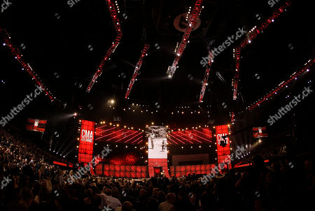 Host Brad Paisley performs a tribute to Andy Griffith at the 46th Annual Country Music Awards at the Bridgestone Arena, in Nashville, Tenn