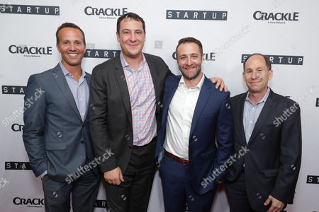 """EVP, Digital Networks, Sony Pictures Television and General Manager, Crackle, Eric Berger, Vice President Head of Digital Development at Crackle, John Orlando, Creator/Director/ Writer/EP Ben Ketai and President of Worldwide Networks, Sony Pictures Television, Andy Kaplan seen at Crackle's """"StartUp"""" Premiere at The London West Hollywood, in Los Angeles, CA"""
