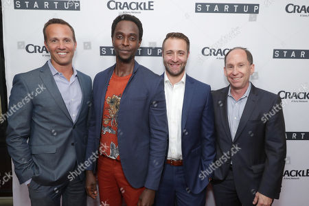"""EVP, Digital Networks, Sony Pictures Television and General Manager, Crackle - Eric Berger, Edi Gathegi, Creator/Director/ Writer/EP Ben Ketai and President of Worldwide Networks, Sony Pictures Television, Andy Kaplan at Crackle's """"StartUp"""" Premiere at The London West Hollywood, in Los Angeles, CA"""