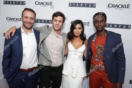 "Creator/Director/ Writer/EP Ben Ketai, Adam Brody, Otmara Marrero and Edi Gathegi seen at Crackle's ""StartUp"" Premiere at The London West Hollywood, in Los Angeles, CA"